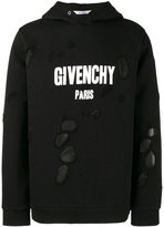 Givenchy distressed logo print hoodie - men - Cotton/Polyester - S
