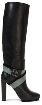 Balenciaga Bucked Nubuck-paneled Leather Knee Boots