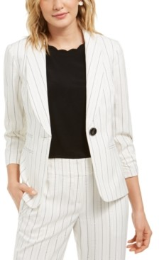 Kasper Stitched Striped Shawl-Collar One-Button Blazer
