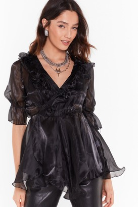 Nasty Gal Womens Cool Now Shimmer Ruffle Organza Blouse - Black - L