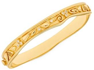 Temple St. Clair Nature Deconstructed River Wave 18K Yellow Gold & Diamond Medium Bangle Bracelet