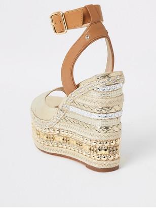 River Island Embellished Wedge Sandals - Gold