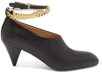 Jil Sander Anklet-chain Leather Cone-heel Pumps - Black