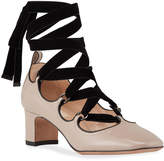 Patent Leather Ballerina Ankle Wrap Pumps