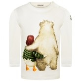 Moncler MonclerBaby Boys Ivory Duck & Bear Print Top
