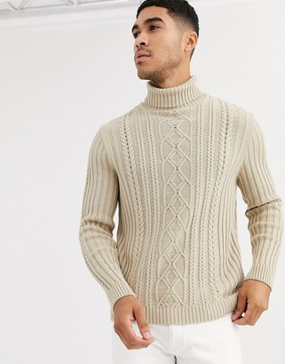 Asos Design DESIGN knitted cable knit roll neck sweater in oatmeal-Beige
