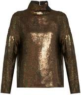 Tibi Sequin-embellished roll-neck top