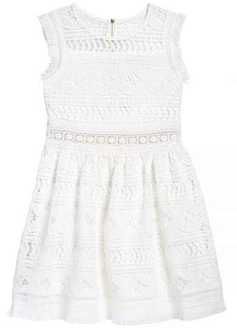 Hannah Banana Fringe Trim Lace Dress