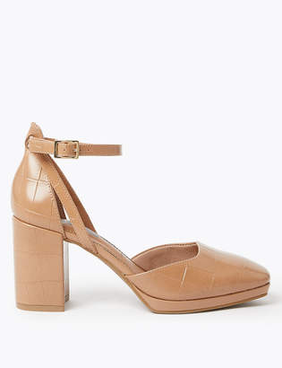 Marks and Spencer Leather Ankle Strap Platform Court Shoes