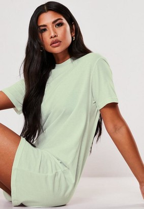 Missguided Mint Basic T Shirt Dress