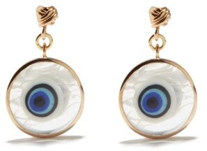 Tohum Istanbul Murano-glass & 24kt Gold-plated Earrings - Blue Gold