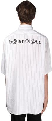 Balenciaga Pinstriped Cotton Shirt W/ Symbolic Logo