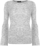 Mint Velvet Silver Grey Sequin Sleeve Knit