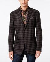 Tallia Big & Tall Men's Slim-Fit Brown and Gray Check Sport Coat