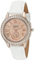 Burgi Women's BUR144WTR Rose Gold Quartz Watch With Rose Dial and Swarovski Crystal Accented Bezel And White Leather Strap