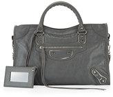 Balenciaga Classic Metallic Edge City Bag, Gray/Palladium