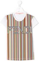 Fendi logo striped print T-shirt