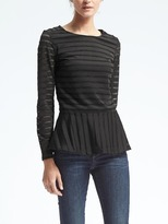 Banana Republic Long Sleeve Mesh Peplum Top