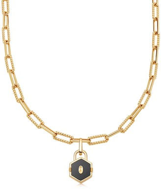 Missoma Limited Gold Onyx Hex Padlock Chain Necklace