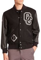 Opening Ceremony Logo Leather-Sleeve Varsity Jacket