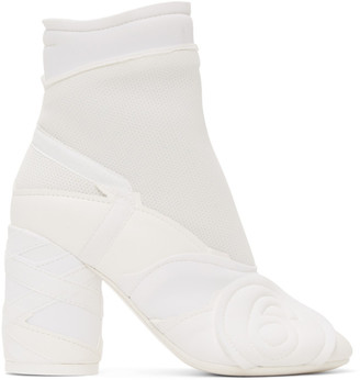 MM6 MAISON MARGIELA White Embossed Logo Ankle Boots