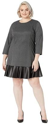 MICHAEL Michael Kors Size Micro Combo Tier Dress (Black/White) Women's Clothing