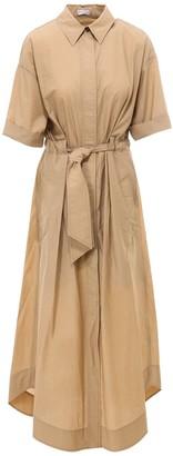 Brunello Cucinelli Belted Short-Sleeved Dress