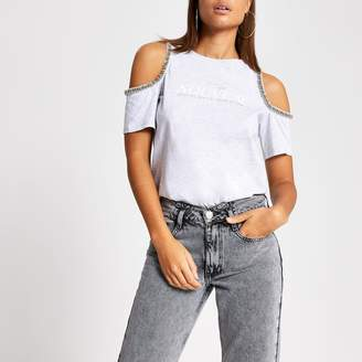 River Island Womens Grey printed embellish cold shoulder T-shirt
