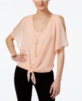 Thalia Sodi Tie-Front Necklace Top, Only at Macy's