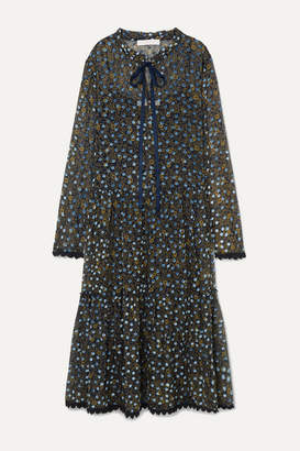 See by Chloe Lace-trimmed Flocked Floral-print Silk-chiffon Midi Dress - Blue