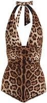 Dolce & Gabbana Leopard-print ruched halterneck swimsuit