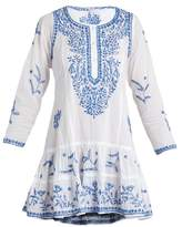Juliet Dunn Round-neck embroidered cotton-voile dress