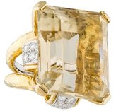 David Webb Citrine and Diamond Cocktail Ring