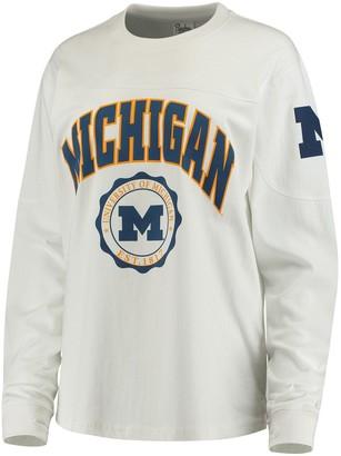 Women's White Michigan Wolverines Edith Long Sleeve T-Shirt