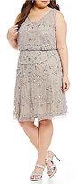 Adrianna Papell Plus V-Neck Beaded Blouson Dress