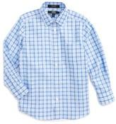 Nordstrom Boy's Kids Blue Haze Plaid Dress Shirt