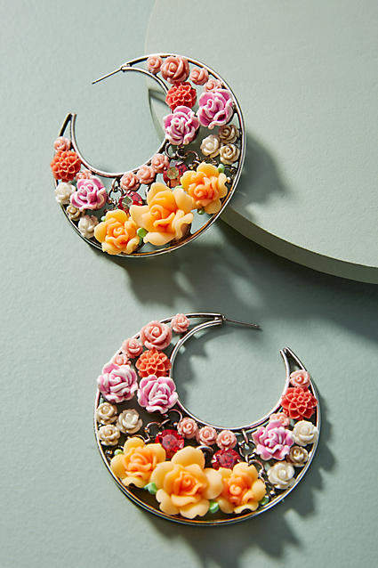 Anthropologie Garden Menagerie Hoop Earrings