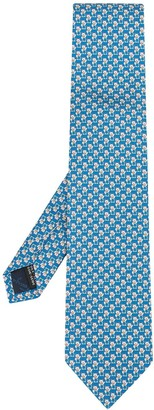 Salvatore Ferragamo cat and Gancini print tie