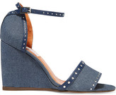 Lanvin Studded Leather-trimmed Denim Wedge Sandals - Mid denim