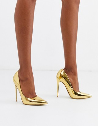 Asos Design DESIGN Penelope stiletto court shoes in gold
