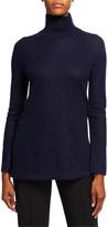 Vince Cashmere Side Slit Turtleneck Tunic Sweater