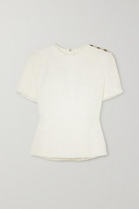 Balmain Button-embellished Frayed Tweed Top - White