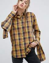 Asos Mustard Check Cotton Shirt with Extreme Tie Sleeves