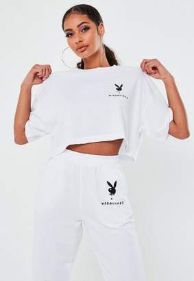 Missguided Playboy X White Drop Shoulder Oversized Crop Top