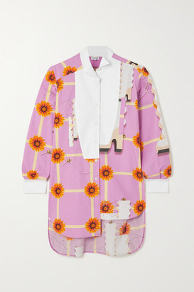Loewe Asymmetric Floral-print Cotton-poplin Shirt - Pink