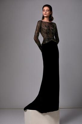 Edward Arsouni Beaded Long Sleeve Velvet Gown