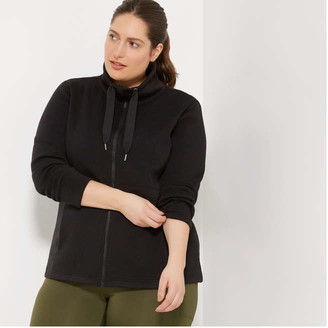 Joe Fresh Women+ Adjustable Waist Fleece Jacket, JF Black (Size 2X)