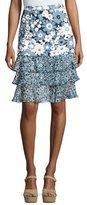 Michael Kors Floral Tiered-Hem Skirt, Blue Pattern