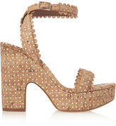 Tabitha Simmons Harlow Perforated Cork And Leather Sandals - Beige