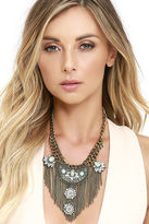 LuLu*s All Its Glory Silver Rhinestone Statement Necklace